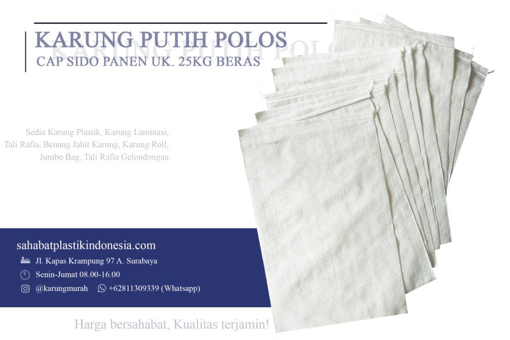 Karung plastik putih polos sido panen uk 25 kg